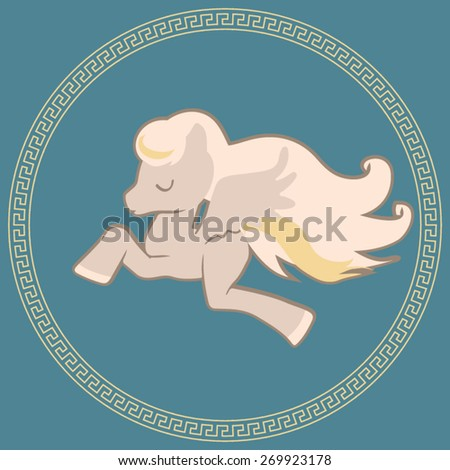 Cute Pegasus flying in the sky. Big curly tail and mane. Vector illustration represents mythical greek flying horse.  - stock vector