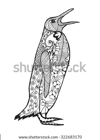 Cute penguin. Adult antistress coloring page. Black white hand drawn doodle animal. Ethnic patterned vector. African, indian, totem tribal, zentangle design. Sketch for tattoo, poster, print, t-shirt - stock vector