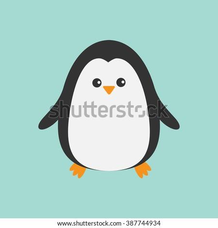 Cute penguin. Cartoon character. Arctic animal collection.  Baby bird. Flat design Vector illustration - stock vector