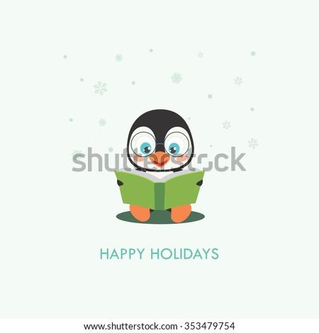 Cute Penguin Cartoon, Vector Illustration - stock vector