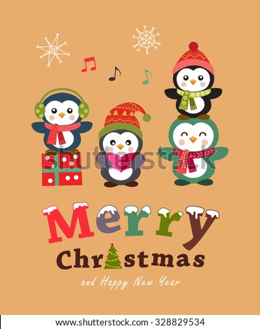 Cute penguin christmas card and poster design. Vector illustration. - stock vector