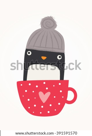 Cute penguin illustration in a cup - stock vector