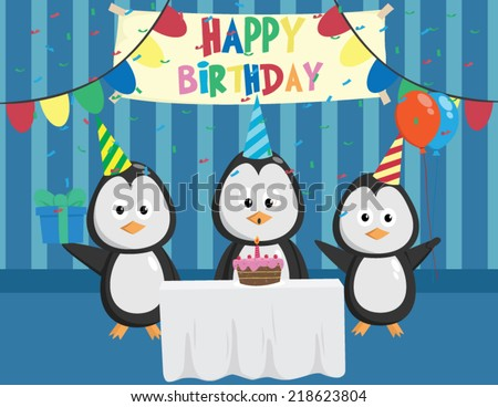 Cute Penguin In Birthday Party With Friends - stock vector