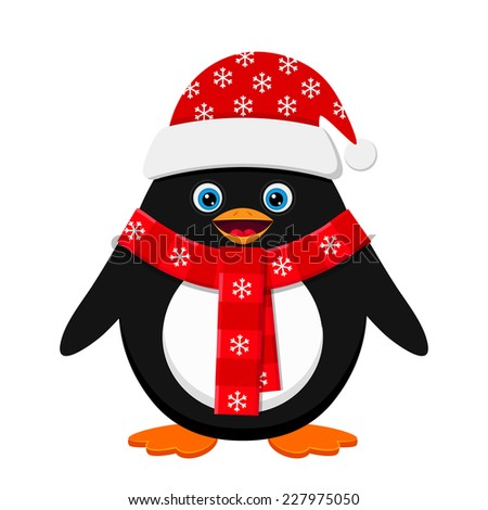 Cute penguin in red hat - stock vector
