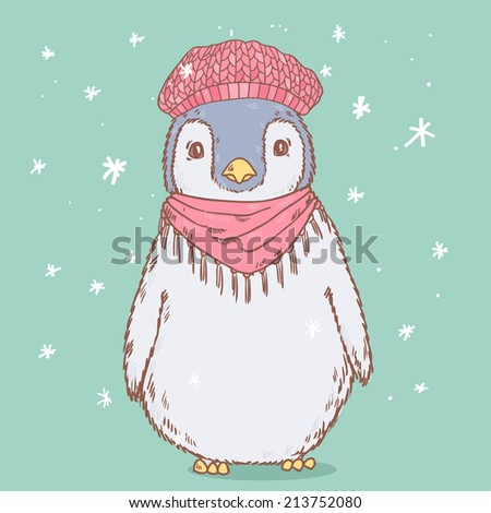 Cute penguin in winter hat and scarf. Vector illustration - stock vector