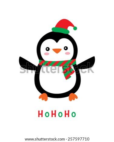 cute penguin merry christmas hohoho greeting - stock vector
