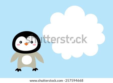 cute penguin message - stock vector
