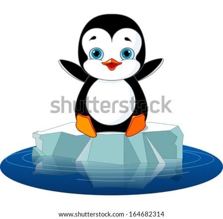 Cute  penguin on a ice floe - stock vector