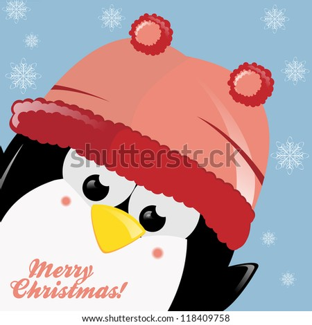Cute Penguin's Christmas Gift - stock vector