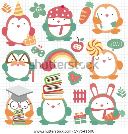 cute penguin set clip art - stock vector