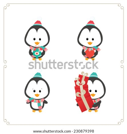 Cute penguin set isolated on white - stock vector