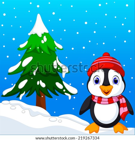 Cute penguin with christmas tree background and winter - stock vector