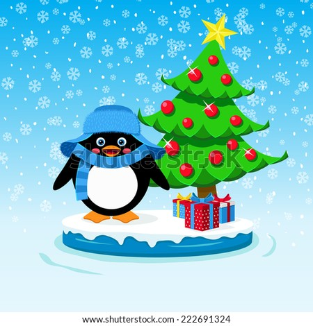Cute penguin with gift boxes and Christmas tree - stock vector