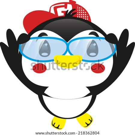 Cute penguin with glasses and cap vector. - stock vector