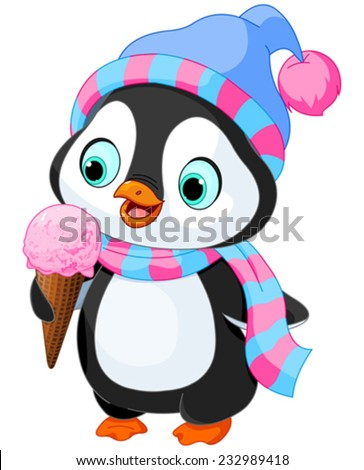 Cute penguin with hat and scarf eats an ice cream - stock vector