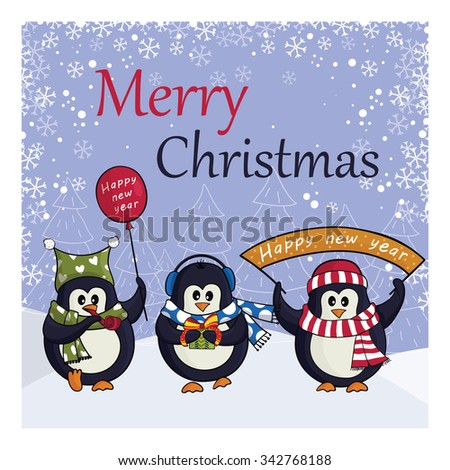Cute penguins on snow background - stock vector