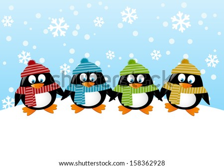 Cute penguins on winter background - stock vector