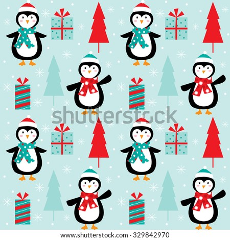 Cute Penguins Pattern With Christmas Tree And Gift Suitable For Background Wallpaper