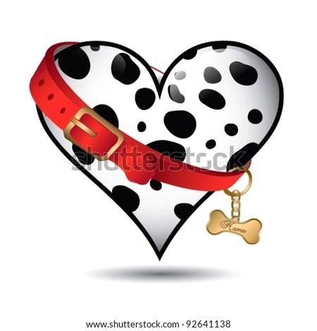 cute pet dalmatian pattern heart shaped - vector pattern - stock vector