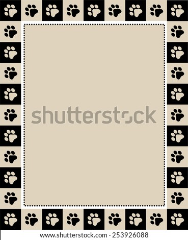 Cute pet lovers/ dog / cat lover page border frame on white background with empty space  - stock vector
