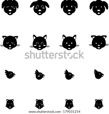 Cute Pets Cat Dog Bird Hamster Expressions Vector Icon Set  - stock vector