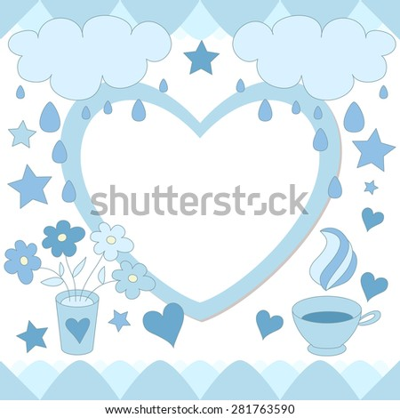 Cute photo frame. Baby shower card. Scrapbook elements. Vector blue illustration. - stock vector