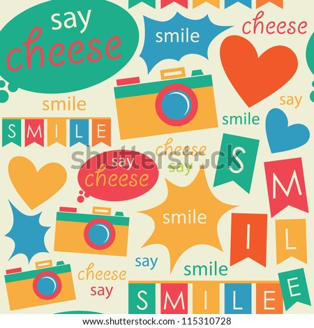 cute photography pattern design. vector illustration - stock vector