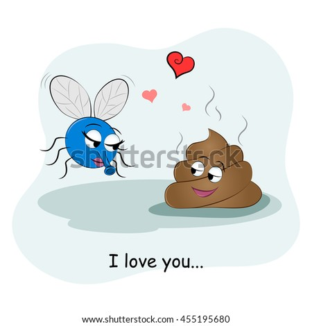 Cute picture of a piece of shit and flies. Couples in love. Vector illustration. Funny card Happy Valentine's Day. - stock vector