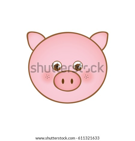 cute pig animal head expression, vector illustration