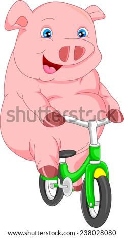 cute pig cartoon bike ride - stock vector