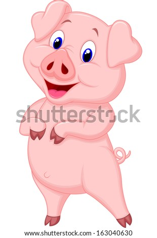 Cute pig cartoon posing - stock vector
