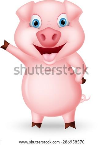 Cute pig cartoon presenting  - stock vector