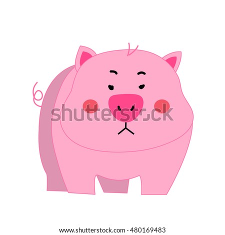 Cute pig cartoon vector isolated
