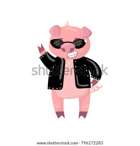 Cute pig character in a black jacket and sunglasses showing victory sign, funny cartoon piggy animal vector Illustration