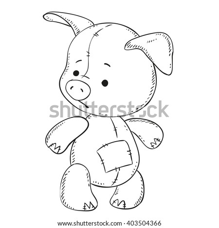 Cute Pig Toy Black Outline Coloring Stock Vector 403504366 ...