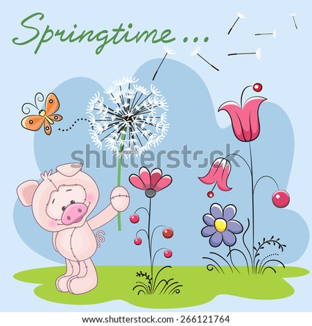Cute Pig with dandelion on a meadow  - stock vector