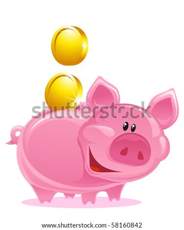 Cute Piggy Bank With Gold Coins - stock vector