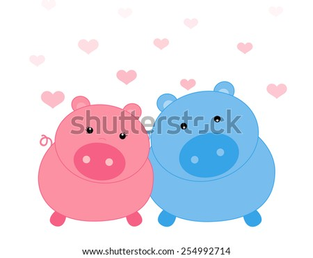 Cute piggy couple on falling hearts background illustration - stock vector