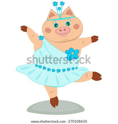 Cute piglet ballerina isolated on white - stock vector