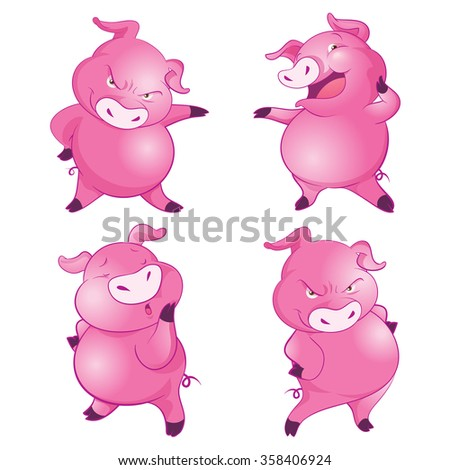 Cute pigs cheerful  funny dancing many actions