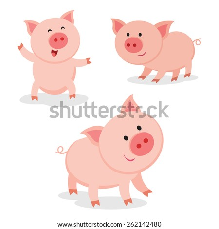 Cute pigs. Cheerful pig. Funny pigs vector. - stock vector