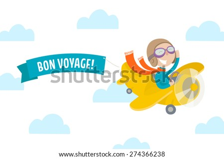 Cute pilot flying on vintage yellow airplane and wishes BON VOYAGE! Flat illustration. - stock vector