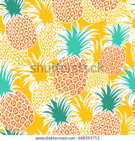 Cute Pineapples Background Yellow Seamless Pattern Vector Illustration