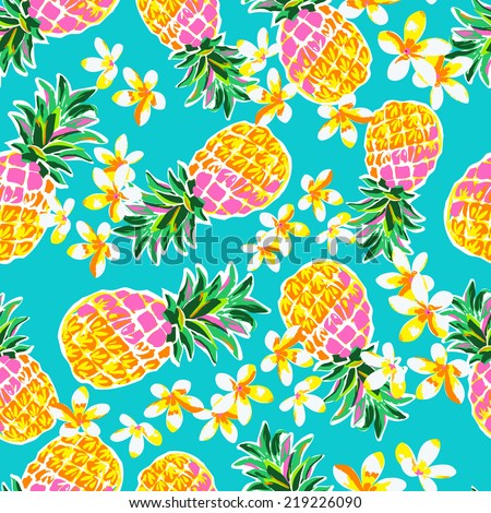 cute pineapples ~ seamless fashion print - stock vector