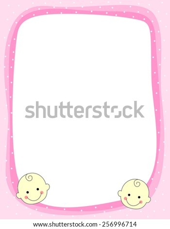 Cute pink baby girl arrival / party invitation / announcement card with two happy baby faces in bottom - stock vector