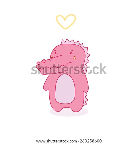 cute pink crocodile girl and heart. vector illustration. - stock vector