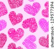 Cute pink doodled hearts seamless background - stock vector
