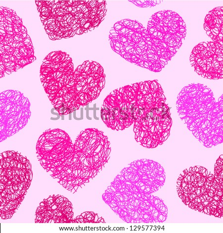 Cute pink doodled hearts seamless background