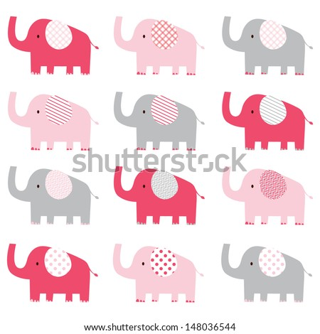 Cute Pink Elephant pattern - stock vector