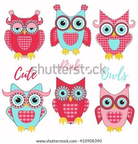 Cute pink owls vector set. Patchwork style.